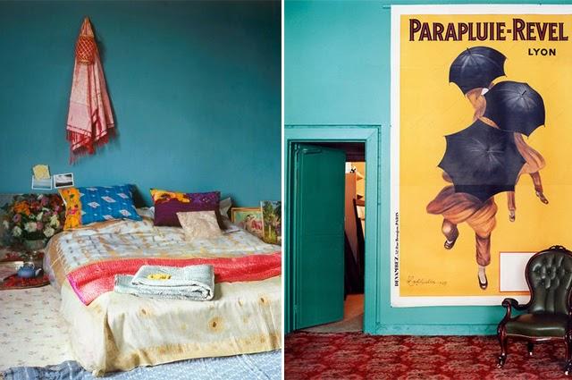 Peinture murs chambre bleu petrole