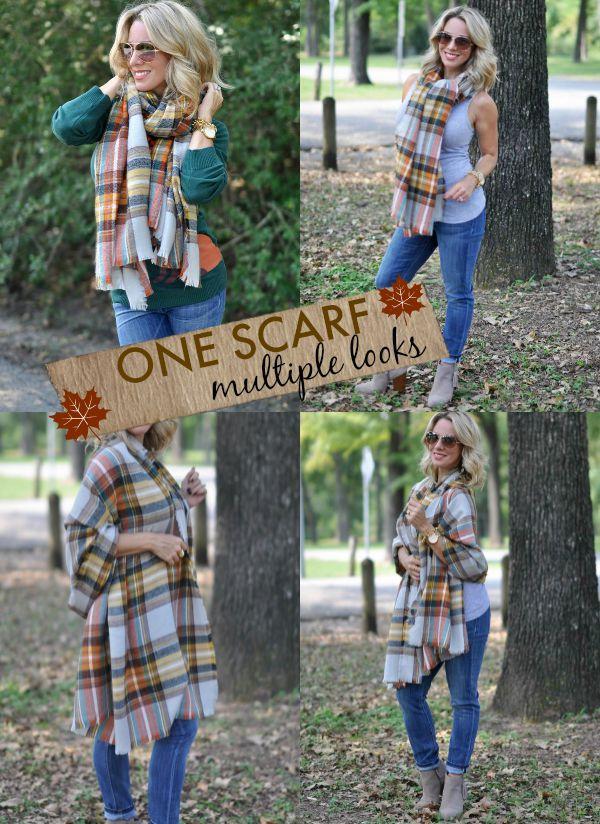 Plaid scarf - multiple looks.