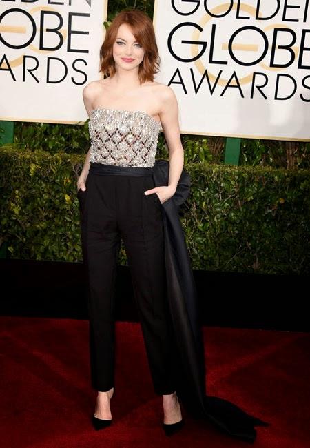 Ема Стоун в гащеризон на наградите Златен глобус 2015