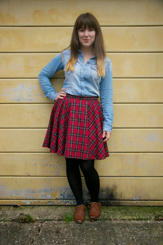 Tartan mini circle skirt