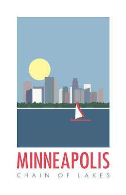 illustrated poster of Minneapolis skyline and lake