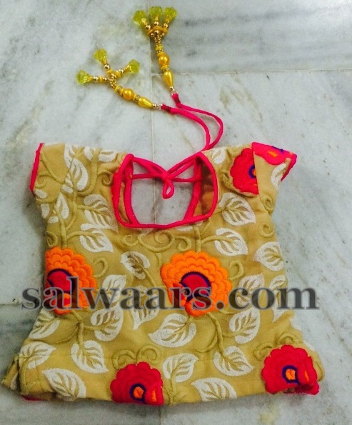 Designer Kids Blouse Yellow Lehenga