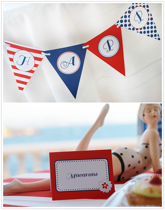 red white blue party banner and food label