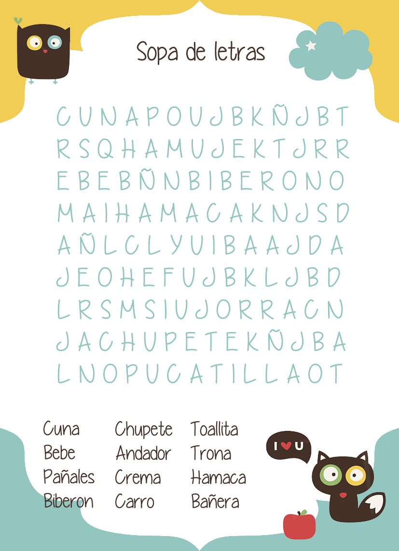 sopa de letras bebes: