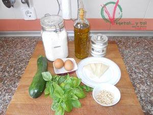 Ingredientes para los Buñuelos de calabacín al pesto.