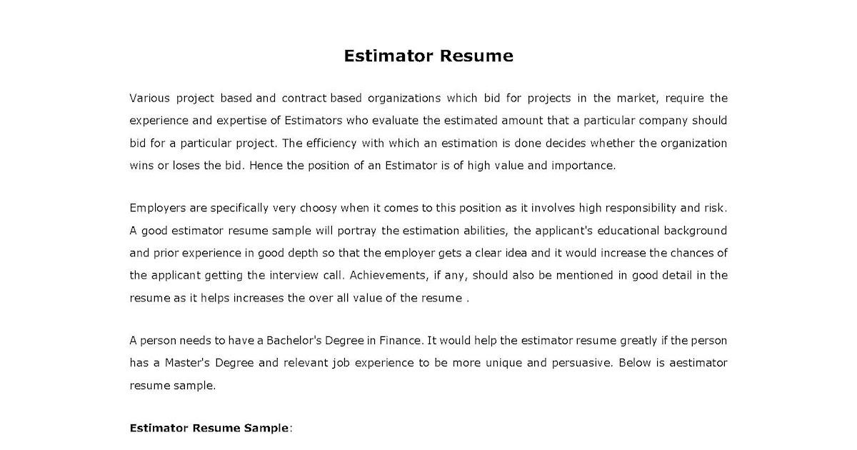 resume samples  estimator resume