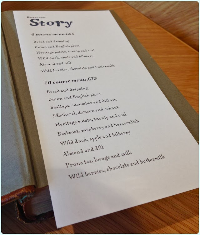Restaurant Story, London - Menu