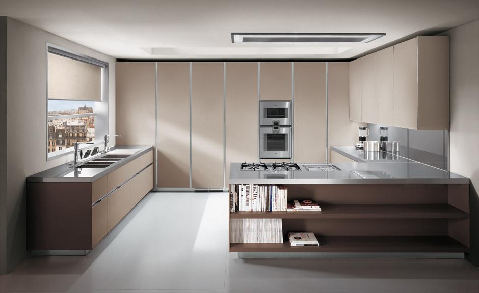 Dise o de cocinas con puertas en cristal kansei cocinas for Idea de cocina de color topo