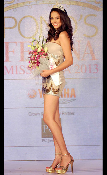 Manasi Moghe winner of Femina Miss Active 2013 Sub-Title during the Ponds Femina Miss India 2013 beauty pageant held at Yash Raj Studios in Mumbai on March 24, 2013.