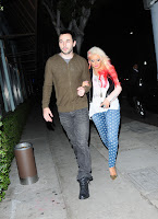 Christina Aguilera arriving at Osteria Mozza