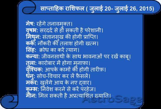 July 20 to July 26, 2015, jane, aane wale is saptah mein kaisa rahega apka bhavishya phal.