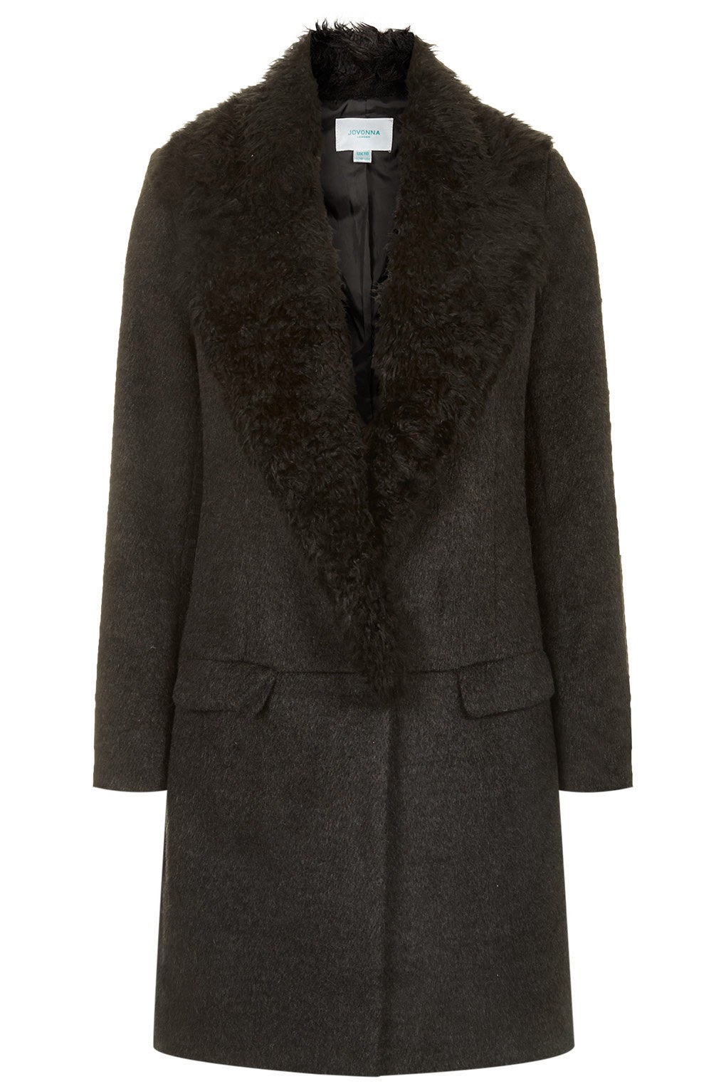 black jovonna coat with fur collar