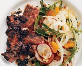 Grilled Skirt Steak with Fregola-Orange Salad