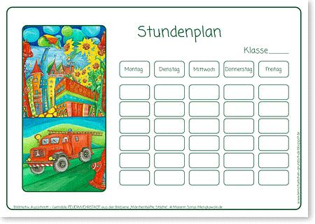 Stundenplan – FEUERWEHR – Motiv: Feuerwehrstadt - Format DIN A4