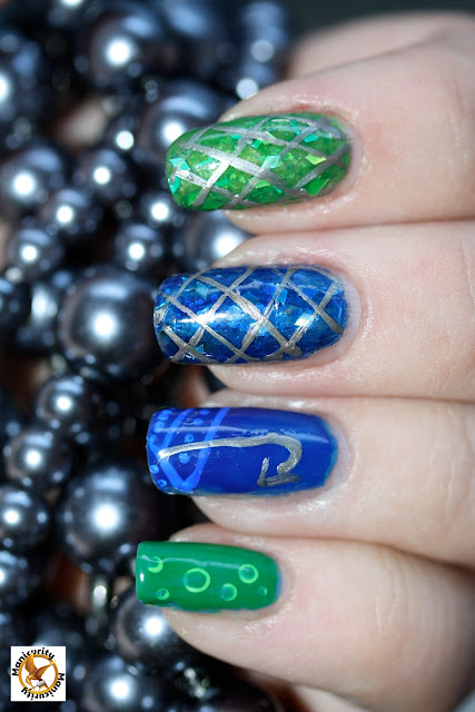 Hunger Games District Four nails featuring China Glaze Hook and Line