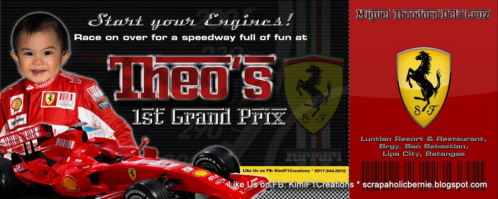 F1 Digital Scrapaholic Theos F1 Theme Birthday Invitation and