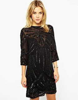 Black Sunray Embellished T-Shirt Dress