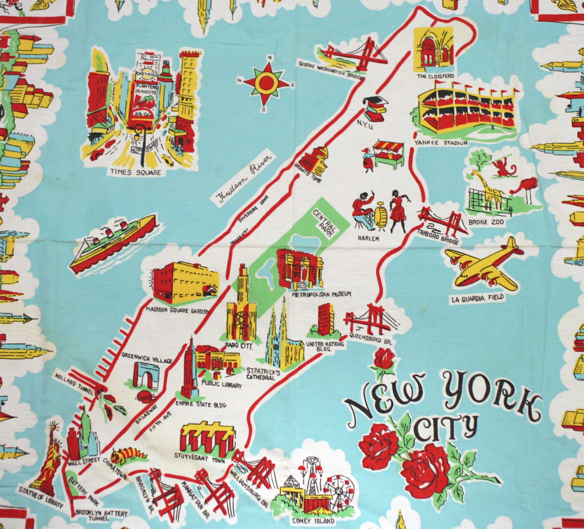 1950 s embroidered cartoon map showing nyc landmarks the attractions outside of manhattan coney island yankee stadium bronx zoo laguardia field are