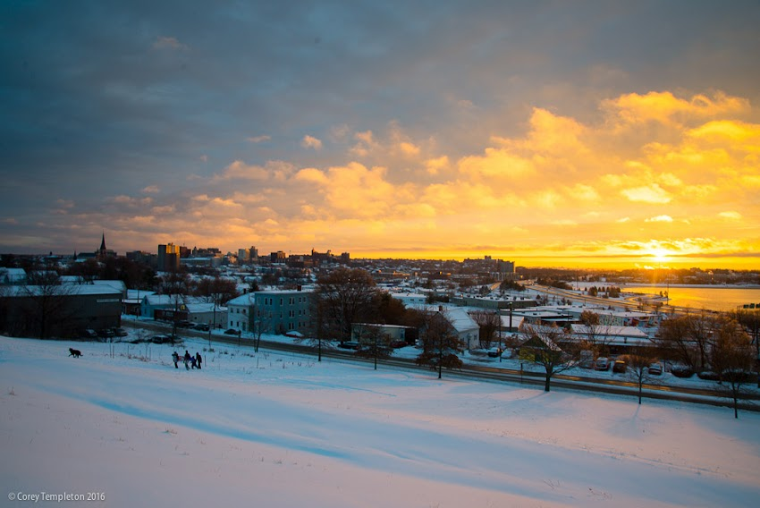 Portland, Maine USA January 2016 Sunset beyond Munjoy Hill on North Street. Photo by Corey Templeton.