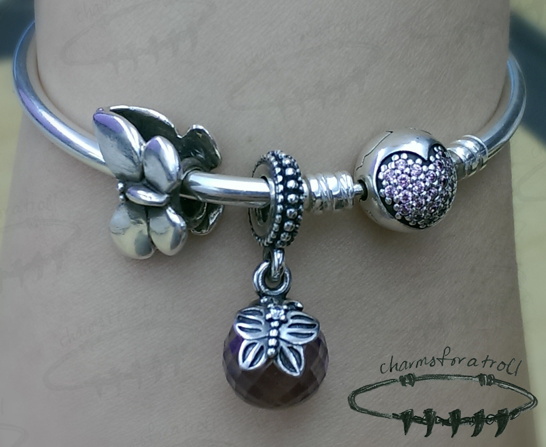Trollbeads Fantasy Butterfly, Pandora Morning Butterfly Lavender, Pandora Circle of Love Bangle