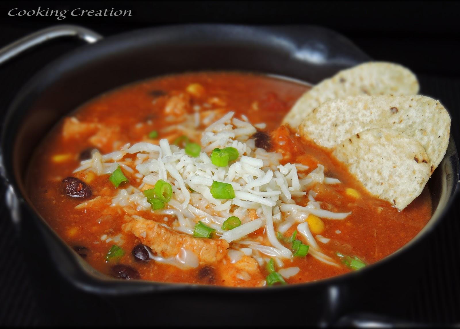 Cooking Creation: Slow Cooker Spicy Chicken Tortilla Stew