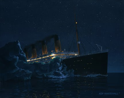 Titanic Strikes Iceberg