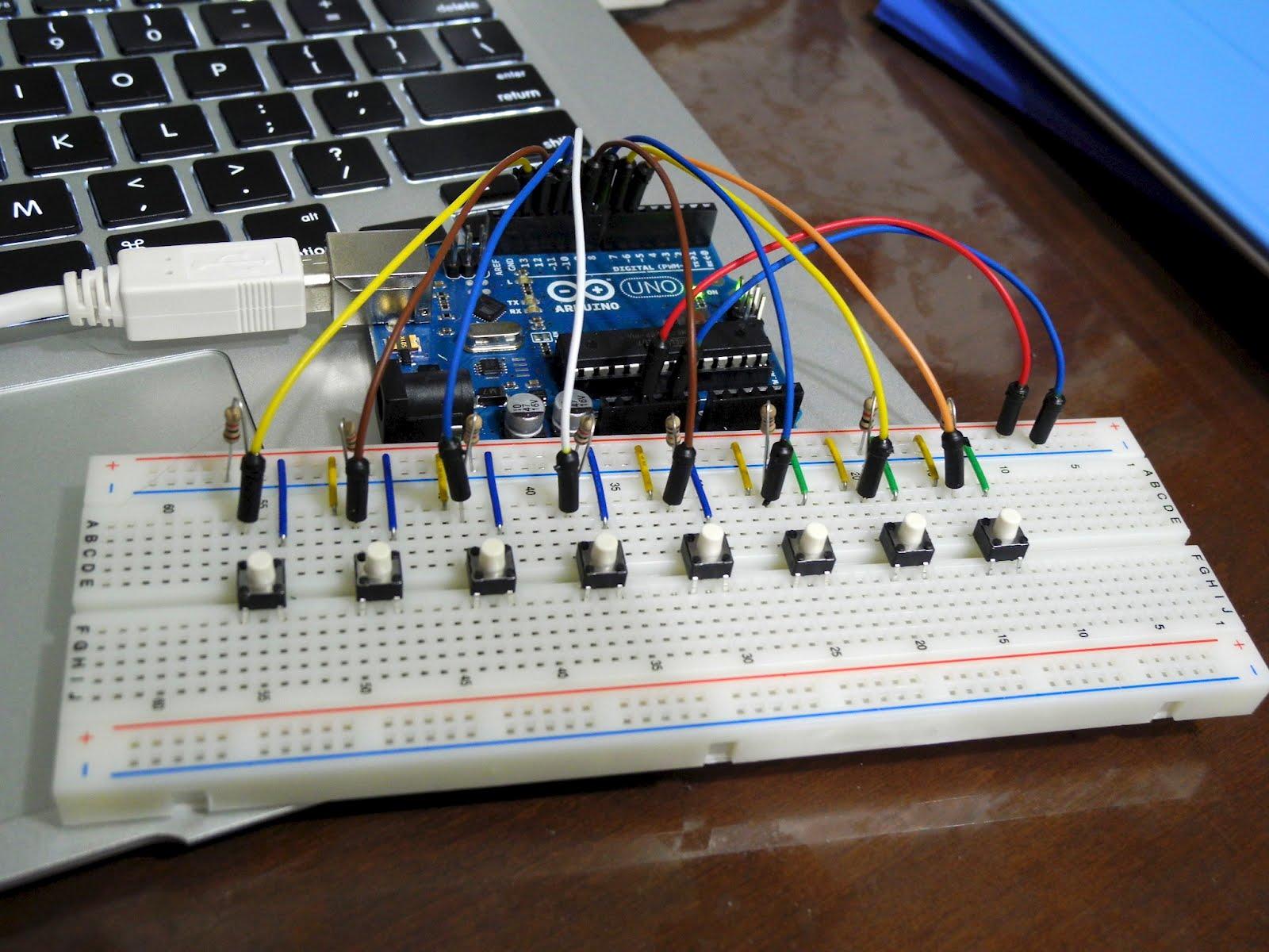 Arduino garageband midiキーボードもどき eleclog