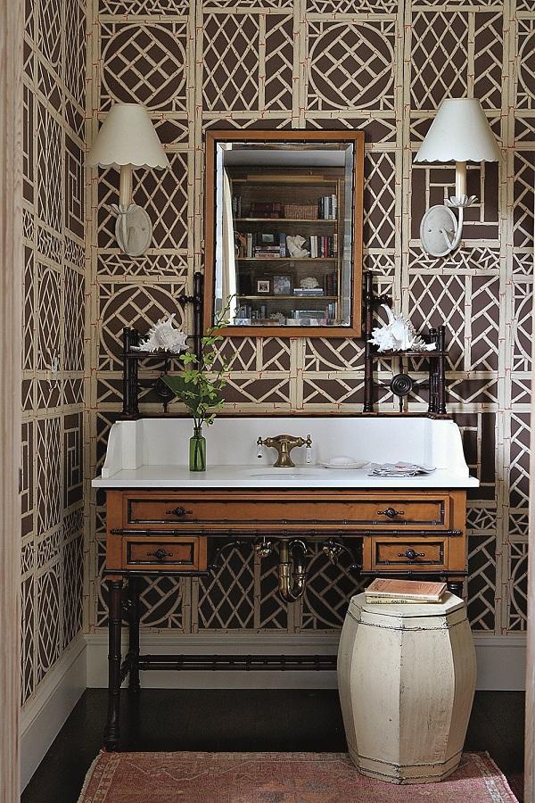 Powder Room With Ballard Design Mirror