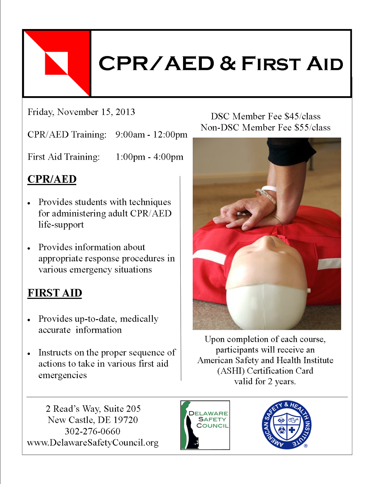 cpr aed first aid training delaware safety council. Black Bedroom Furniture Sets. Home Design Ideas