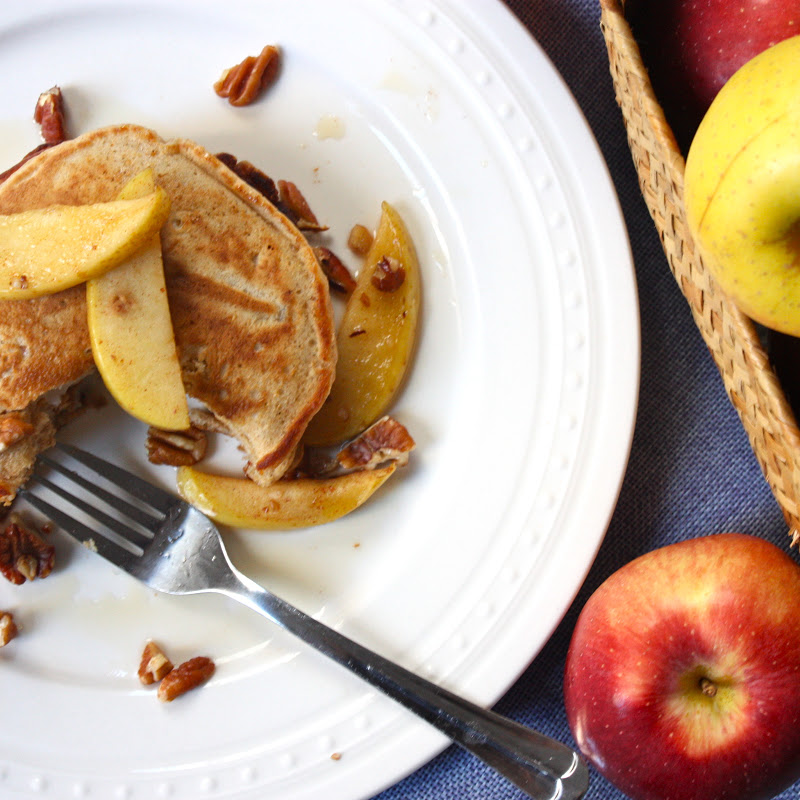 whole wheat apple-cinnamon pancakes with apple-pecan topping - Get Off ...