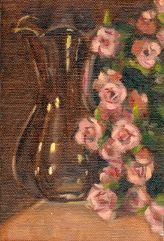 Oil painting of a glass vase alongside pink flowers.