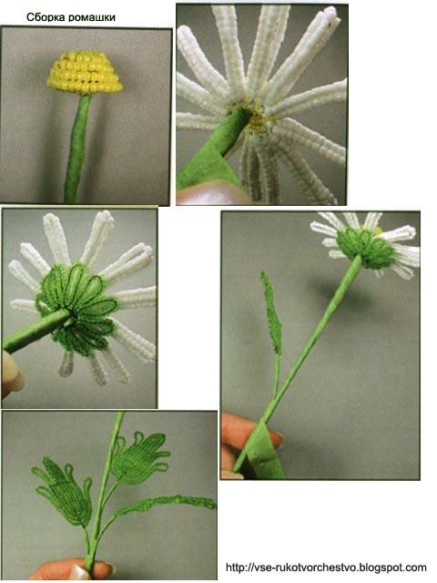 Как вязать стебель цветка