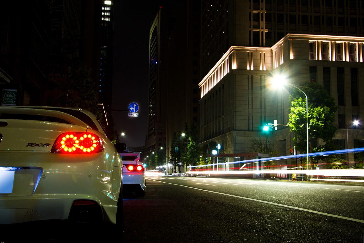 Nissan 180SX & Mazda RX-8, Japonia, JDM, tuning, zdjęcia w nocy, sportowe samochody, japońskie, fotki
