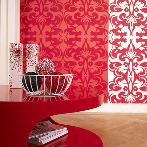 Modern red living room wallpapaer living room designs for Red wallpaper designs for living room