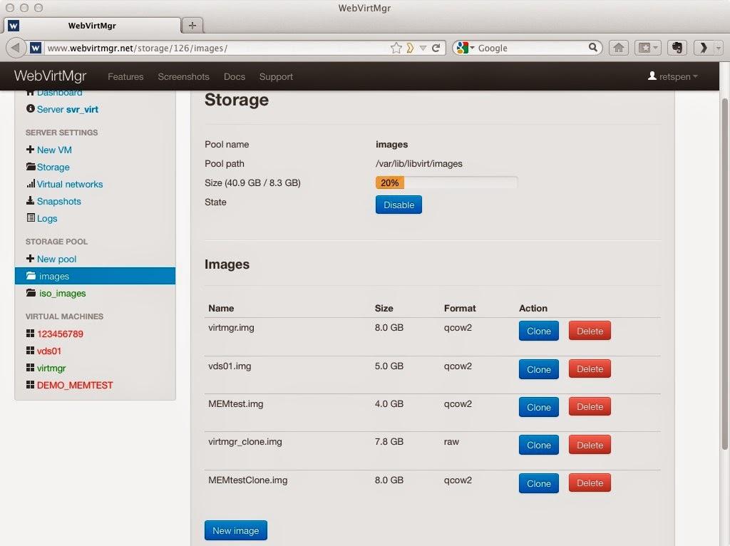 Imagen del panel de control de webvirtmanager listando las imágenes de maquinas virtuales.