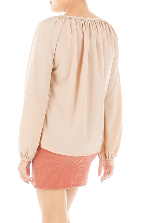 Gathered Wish Long Sleeve Blouse – Wheat