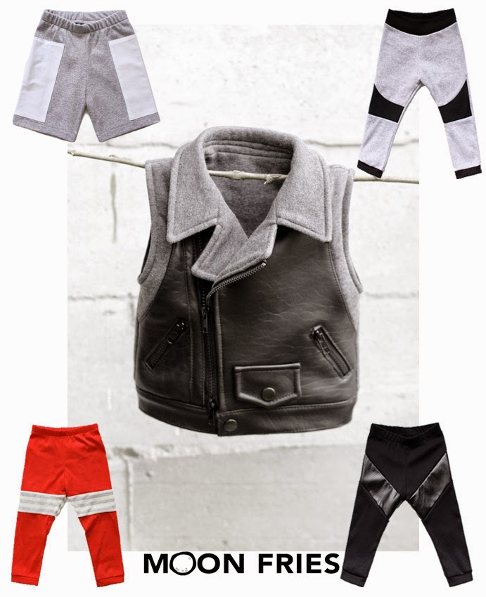 Kids cool leather vest and pants by Moon Fries for spring 2014