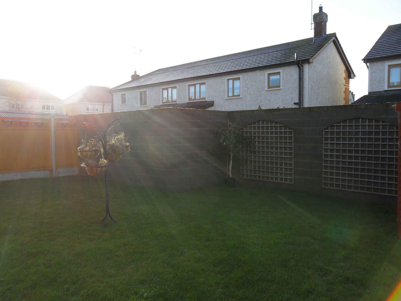 Cold grey boundary walls in a garden Grange Rath, Drogheda