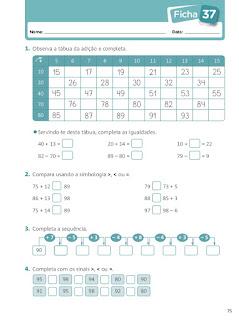 fichas de trabalho 1 ano matematica