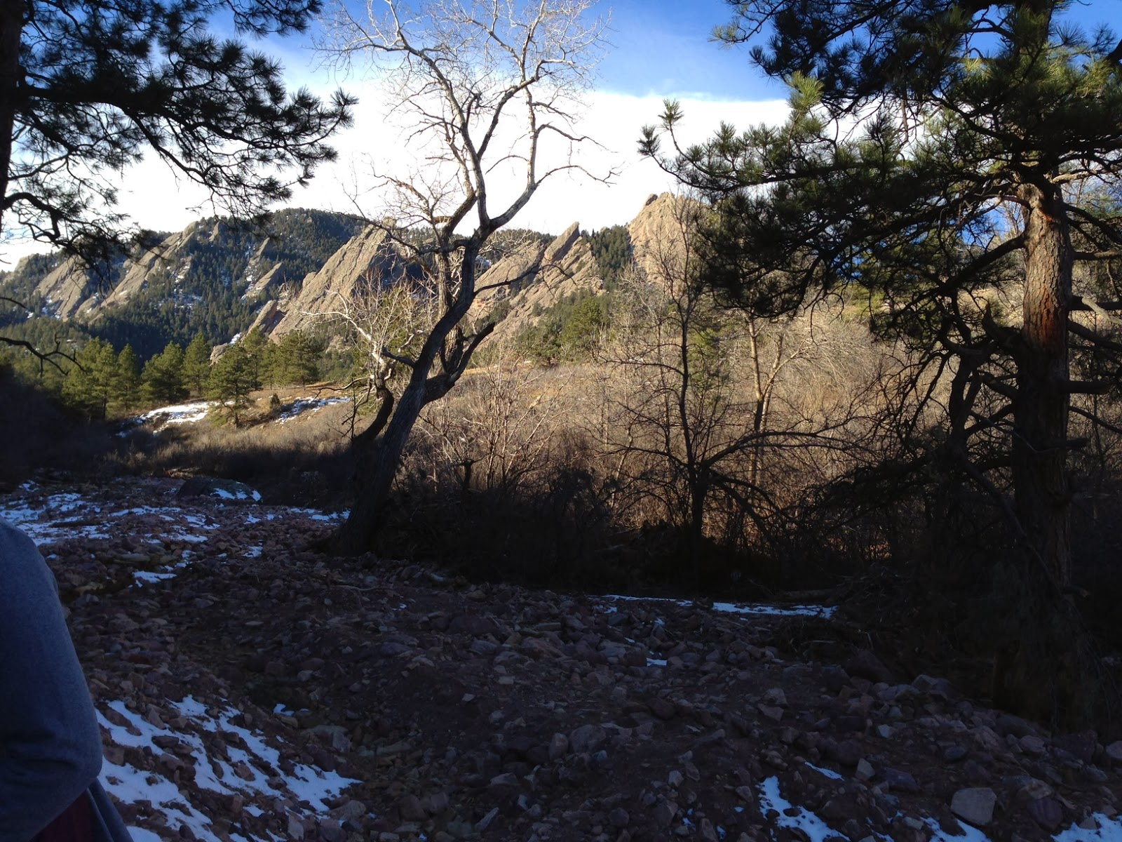 The breathtaking view of the Flatirons from the historic Chataqua trails in Boulder, Colorado