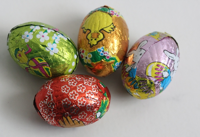 chocolate Easter eggs with Easter prints