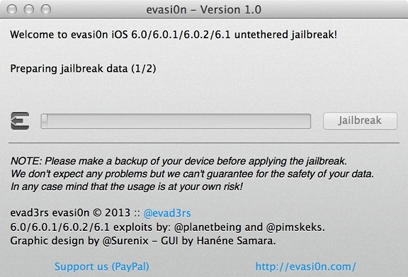jailbreak iOS 6.1 using evasi0n