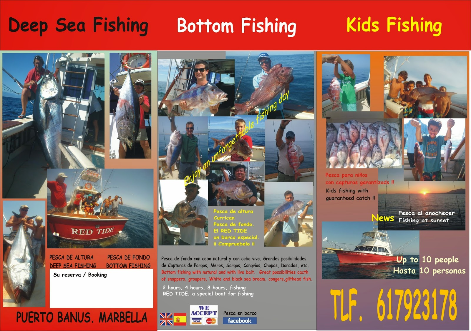 Atunes, bonitos, pargos, dentones.... Charter de pesca en Marbella.