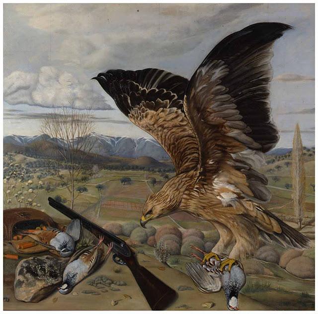 EL arte y las pinturas del caudillo Francisco Franco. Halcon cazando.