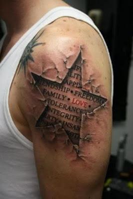 Tatuaje realista de estrella 3d en el brazo