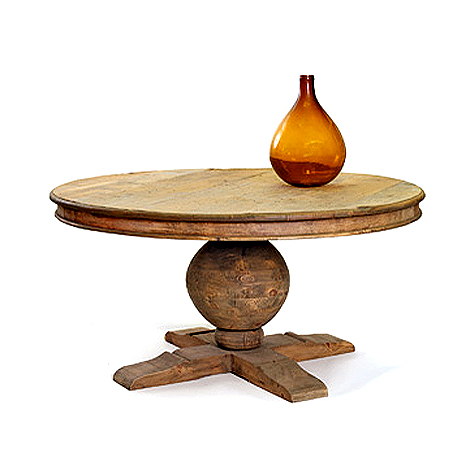 Reclaimed wood pedestal dining table (1895.) via Hudson Goods as seen on linenandlavender.net