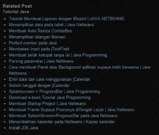 Cara Memasang Related Post di Blogspot