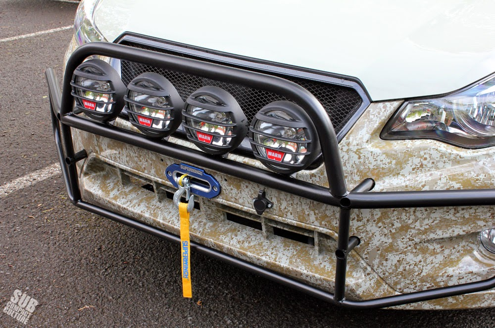 Primitive Racing's light bar for Subaru XV Crosstrek with WARN lights