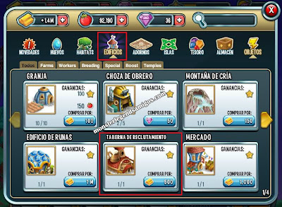imagen de como construir la taberna de reclutamiento de monster legends