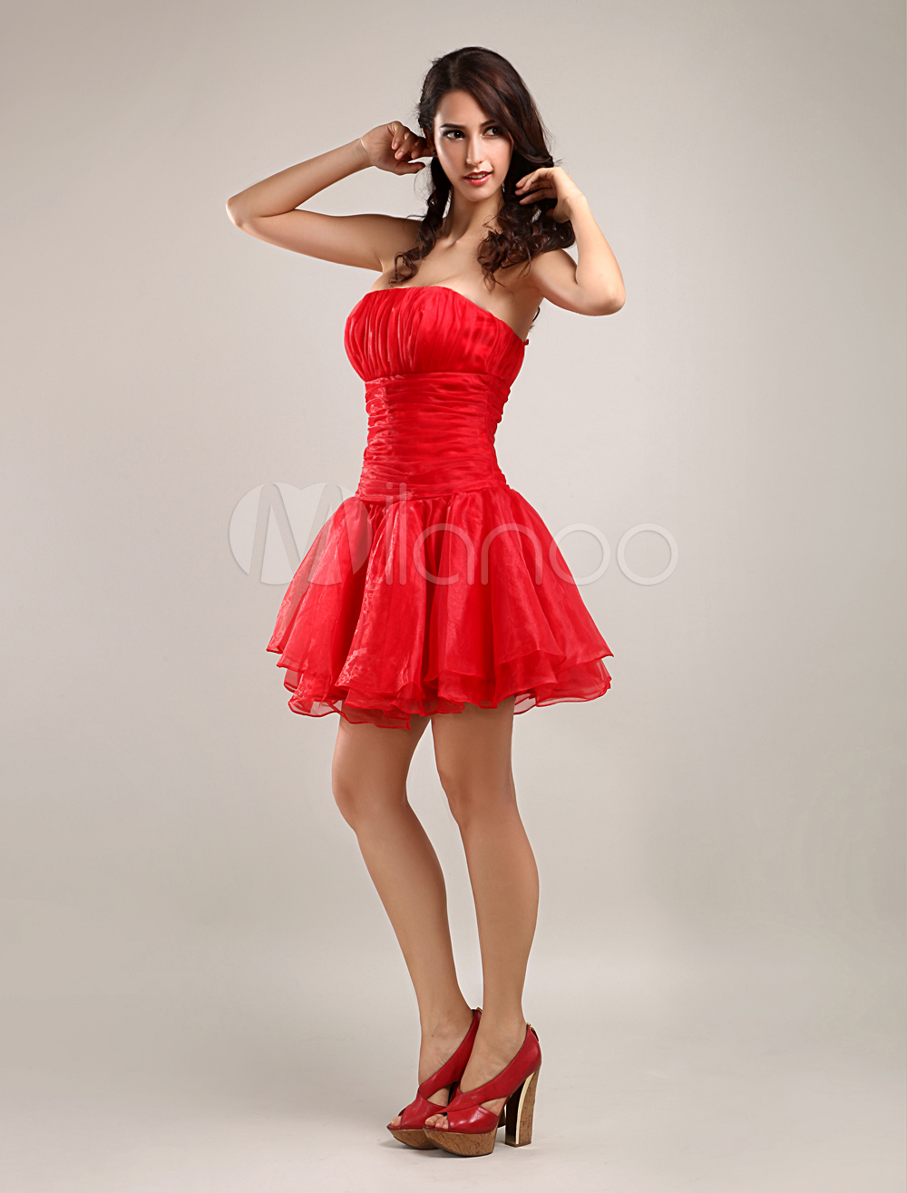 A-line Strapless Satin Organza Summer Prom Dress/Homecoming Dress